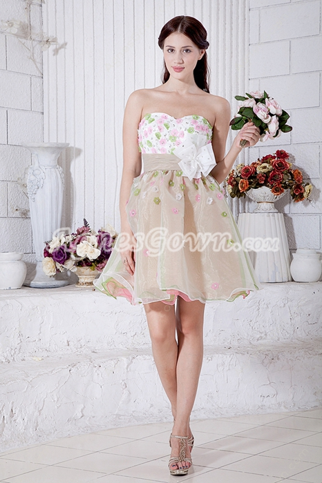 Pretty Champagne Sweet 16 Dress With Colorful Flowers