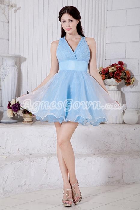 Crossed Straps Back Puffy Light Sky Blue Organza Sweet Sixteen Dress