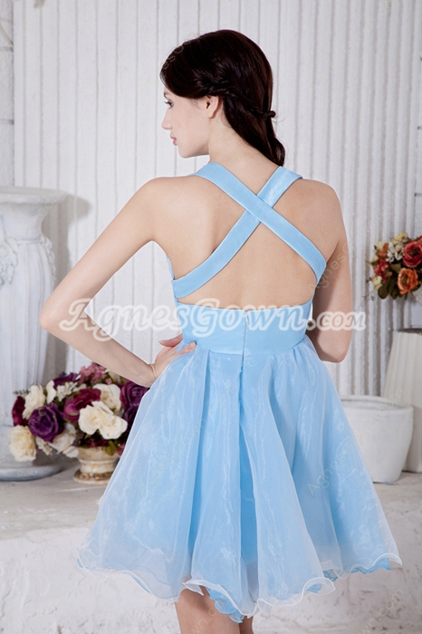 Crossed Straps Back Puffy Light Sky Blue Organza Sweet Sixteen Dress
