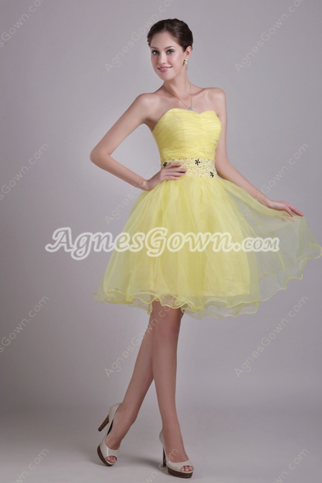 Lovely Knee Length Yellow Organza Sweet 16 Dress