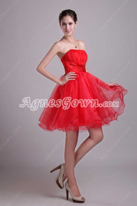 Lovely Puffy Mini Length Red Sweet Sixteen Dress