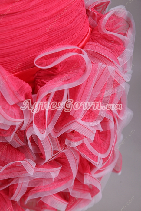 Lovely Puffy Mini Length Watermelon Sweet Sixteen Dress