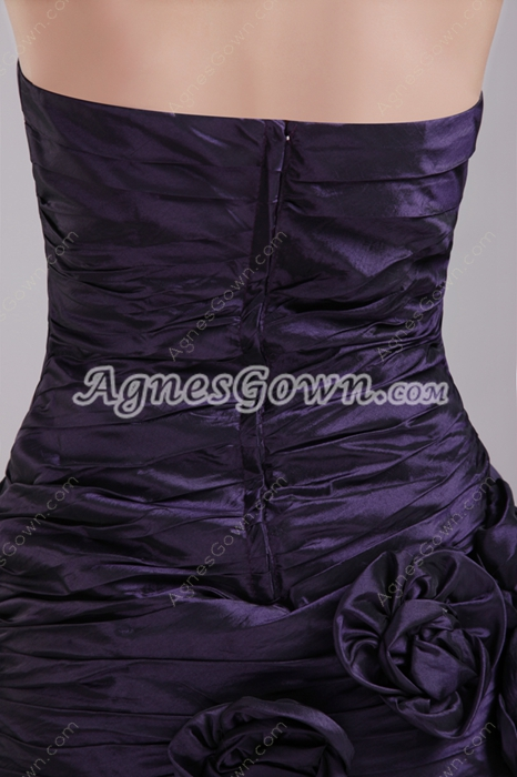 Mini Length Dark Purple Sweet Sixteen Dress With Handmade Flowers