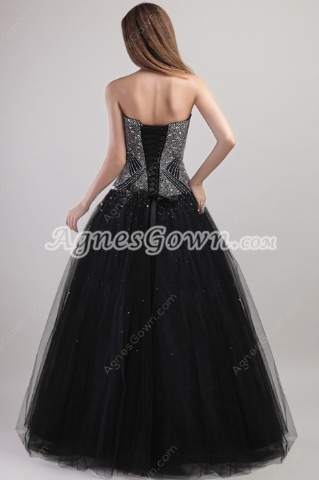 Luxury Beaded Black Quince Dress