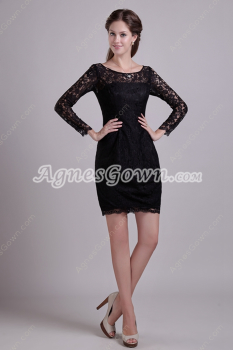 Long Sleeves Mini Length Black Lace Wedding Guest Dress