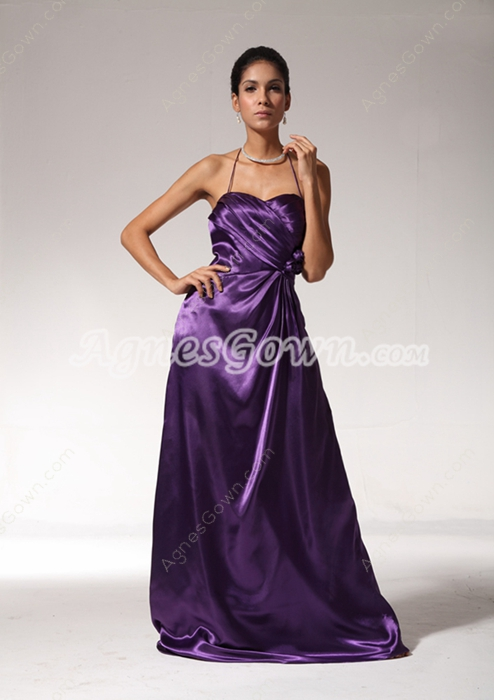 Grecian Halter A-line Eggplant Purple Evening Dress