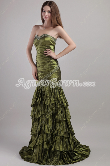 Retro Green Mermaid/Fishtail Prom Dress Corset Back