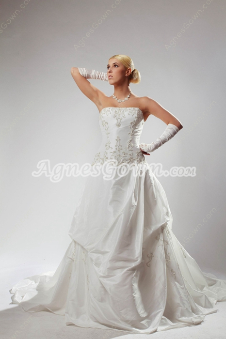 Strapless White Taffeta Wedding Dress With Embroidery