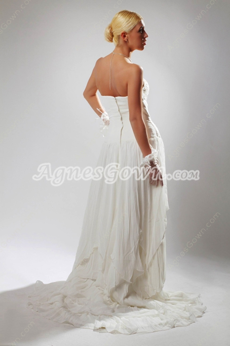 Delicate A-line Chiffon Destination Wedding Dress