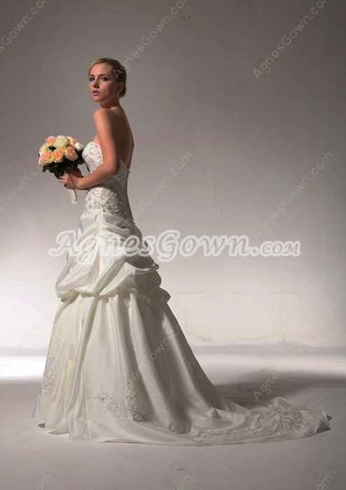 Gorgeous Embroidery Taffeta Wedding Dress Asymmetrical Waist