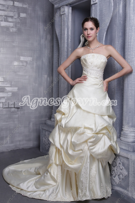Modest Strapless Champagne Satin Wedding Dress Corset Back