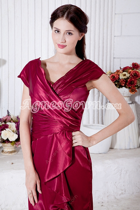 Chic Knee Length Magenta Wedding Guest Dress