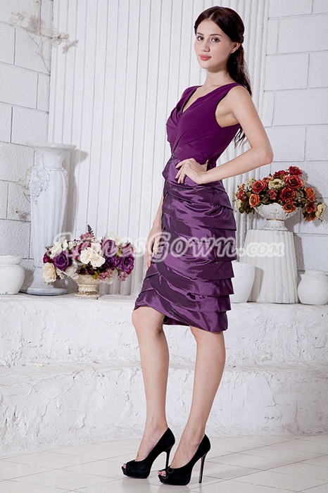 Knee Length V-Neckline Purple Wedding Guest Dress