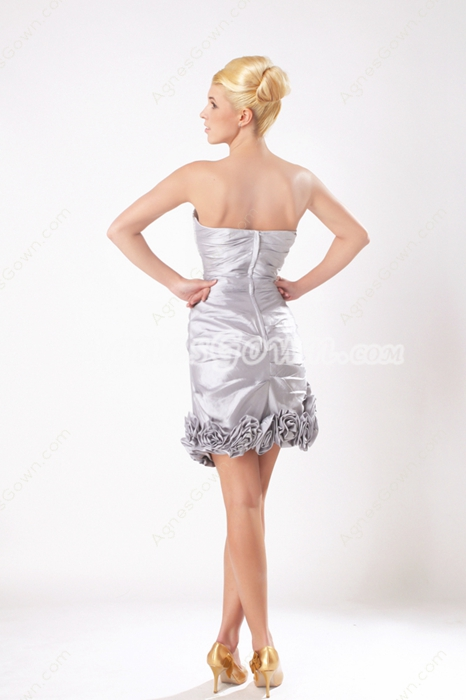Chic Mini Length Silver Taffeta Wedding Party Dress