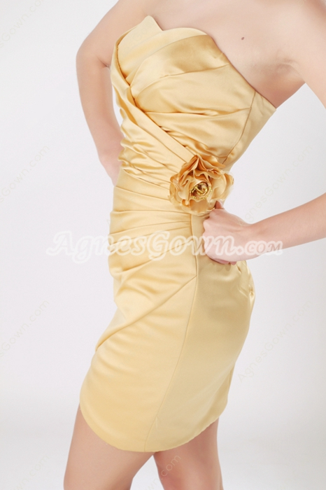 Sheath Mini Length Gold Wedding Guest Dress