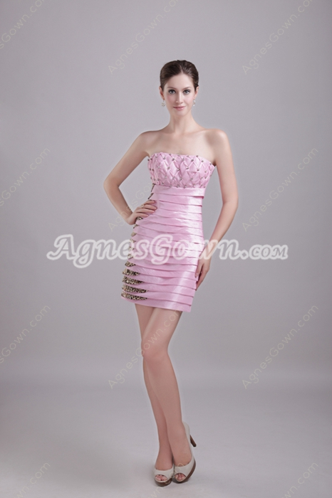 Pink And Leopard Taffeta Mini Length Wedding Guest Dress