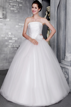 Simple White Tulle Quinceanera Dress
