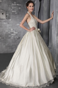 Classy Halter Ball Gown Ivory Lace Wedding Dress