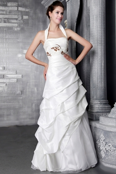 Beautiful Halter Casual Bridal Dresses With Beads