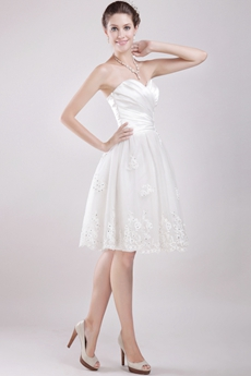 Knee Length White Beach Wedding Dress Informal
