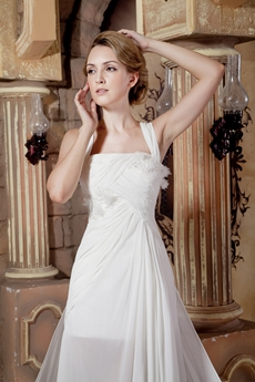 Double Straps Summer Beach Wedding Dress With Lace