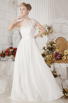Exquisite One Straps White Chiffon Beach Wedding Gown With Beads