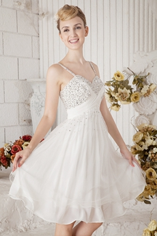 Mini Length White Chiffon Homecoming Dress