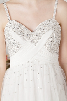 Mini Length White Chiffon Homecoming Dress