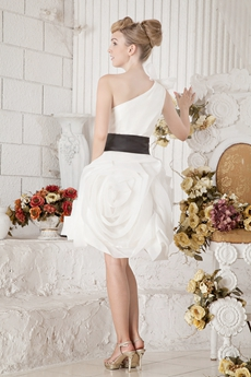 Sassy One Shoulder Mini Length White Sweet Sixteen Dress With Black Sash
