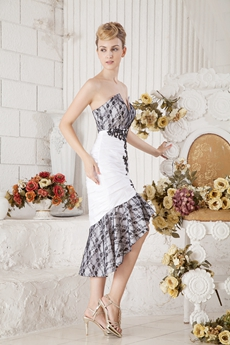 Sheath White & Black High Low Wedding Guest Dress