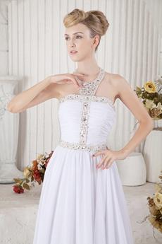 Charming Halter White Summer Beach Wedding Dress With Sequins