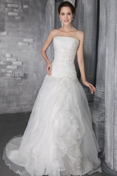 Dropped Waist White Organza Simple Wedding Dress