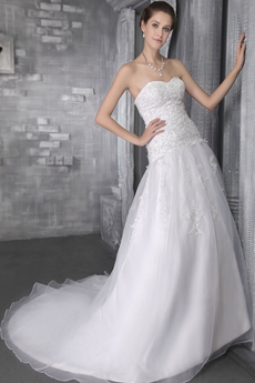 Dropped Waist Lace Wedding Dress With Beads