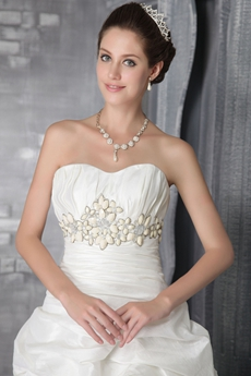 Dipped Neckline Taffeta Wedding Dress With Beads