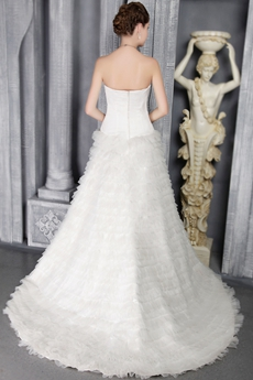Strapless A-line White Tulle Multi Tiered Wedding Dress