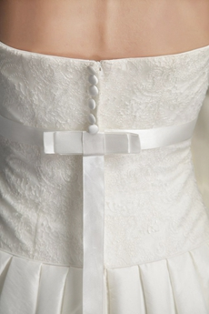 Dropped Waist Satin And Lace Wedding Dress With Buttons