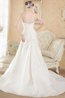 Amazing White A-line Satin Plus Size Wedding Dresses