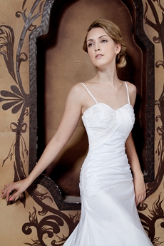 Spaghetti Straps Simple Satin Wedding Dress