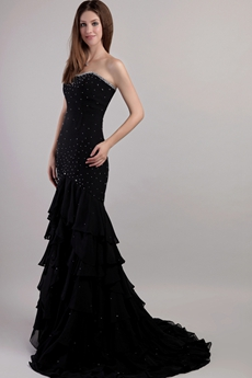 Charming Black Trumpet Celebrity Dresses With Beads