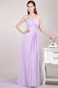 Single Straps Lilac Chiffon High School Graduation Dress