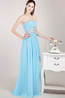 Sassy Strapless Blue Chiffon Prom Party Dress With Beads