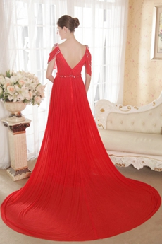 Charming Red Maxi Evening Dresses With V-Back