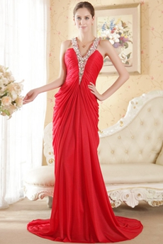 V-neckline Halter Red Chiffon Celebrity Evening Gown