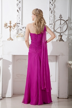 Lovely One Shoulder Fuchsia Prom Party Dress With Appliques