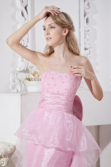 Sassy Strapless Mini Length Pink Sweet Sixteen Dress With Beads