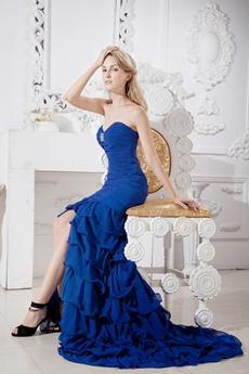 Stunning Royal Blue Chiffon Mermaid Prom Dress With Frills