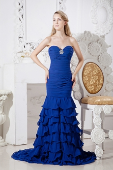 Stunning Royal Blue Chiffon Mermaid Prom Dress With Frills