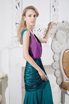 Plunge Neckline Teal & Purple Maxi Evening Dress