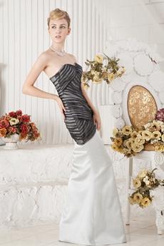 Classy Sheath Full Length Ivory & Black Celebrity Dress