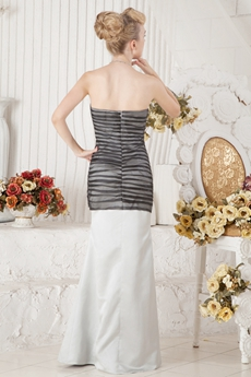 Classy Sheath Full Length Ivory & Black Celebrity Dress
